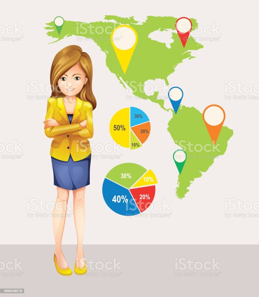 Businesswoman and map with focused locations vector art illustration