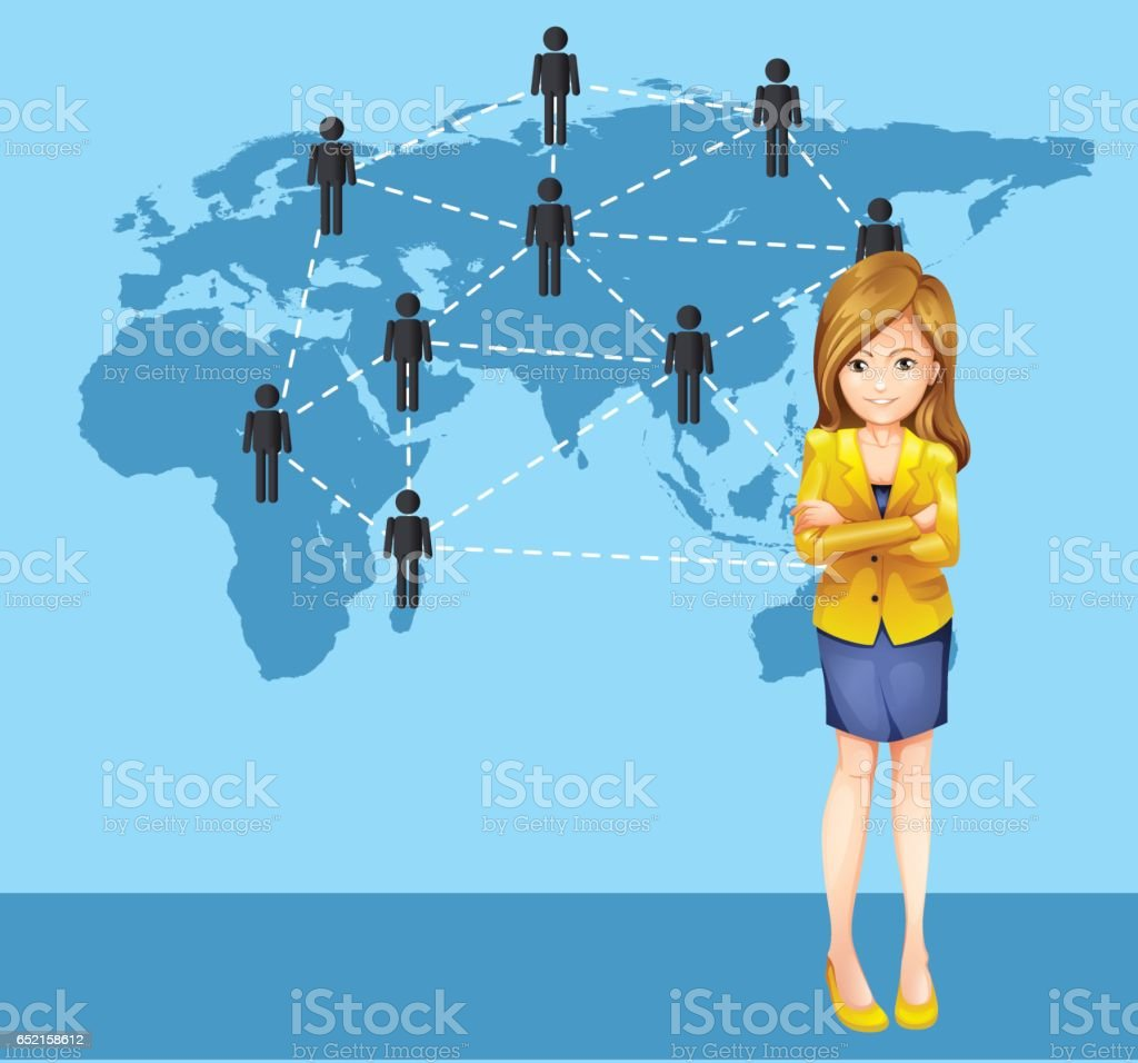 Businesswoman and people around the world vector art illustration