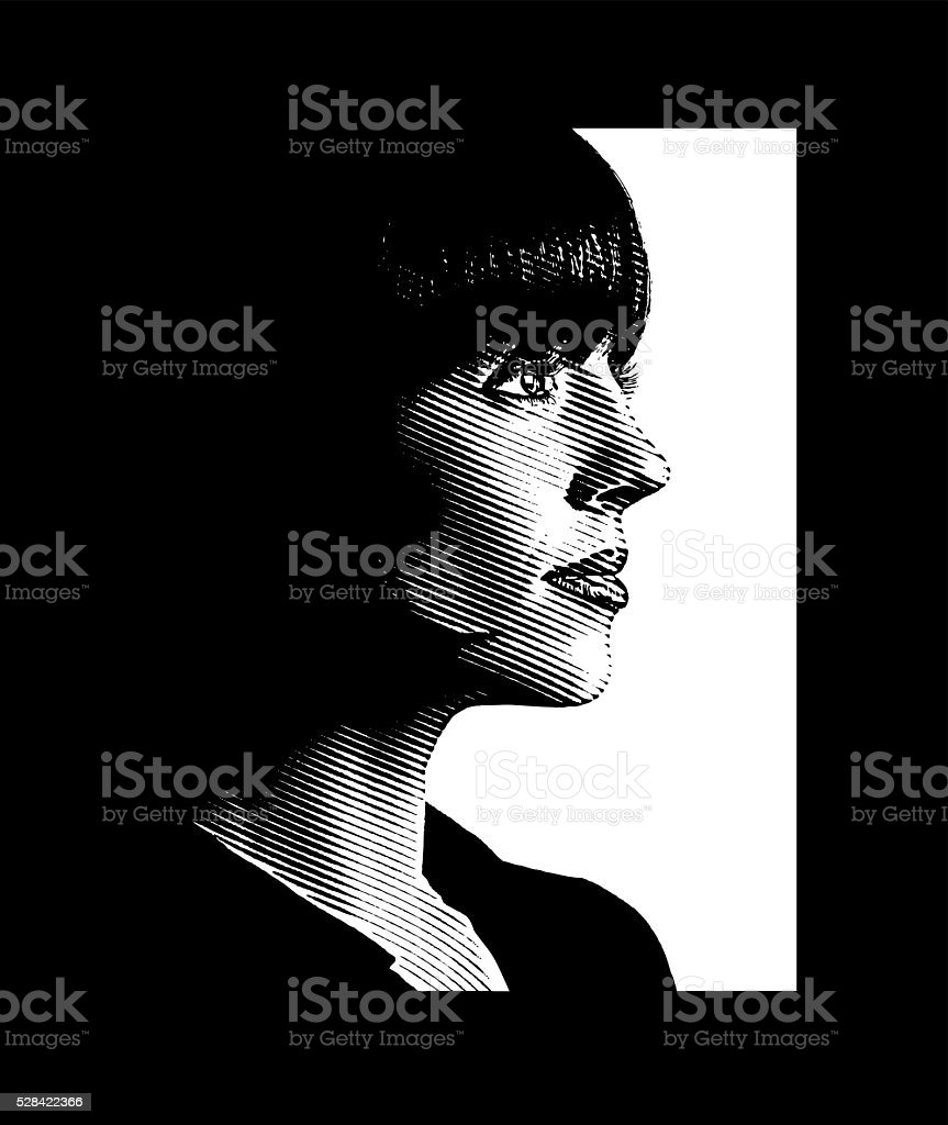Businesswoman and the way forward vector art illustration