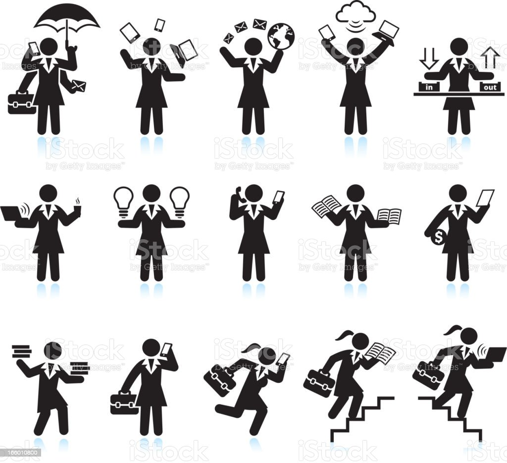 Businesswoman Assistant Hectic Life black & white vector icon set royalty-free stock vector art