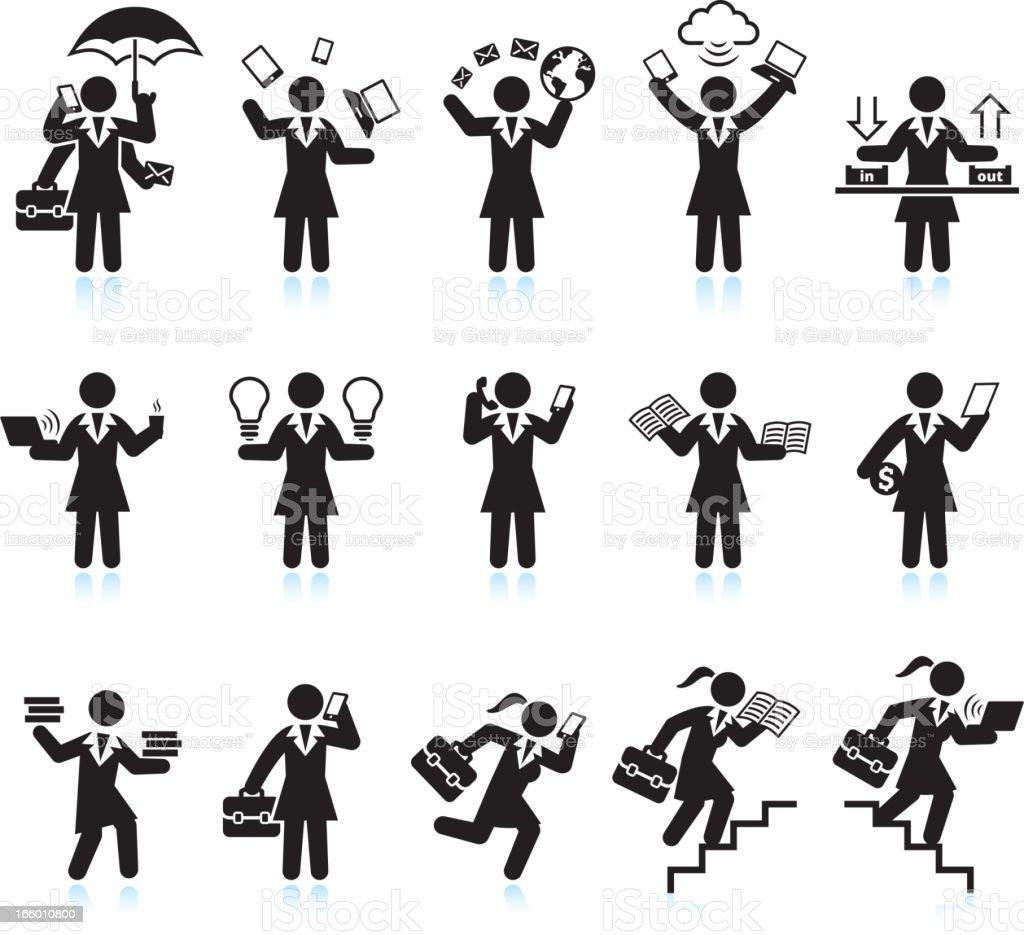 Businesswoman Assistant Hectic Lifestyle Black & White Set vector art illustration