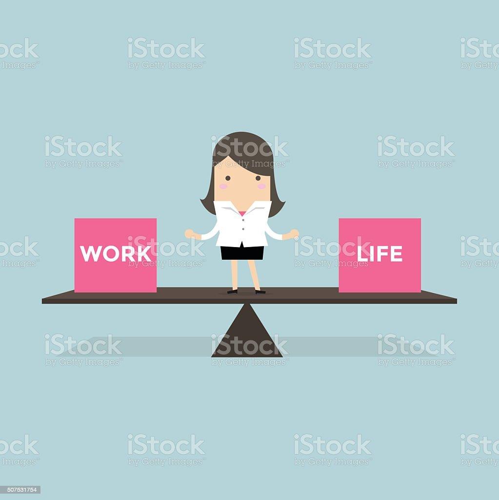 Businesswoman balance Work and life vector art illustration