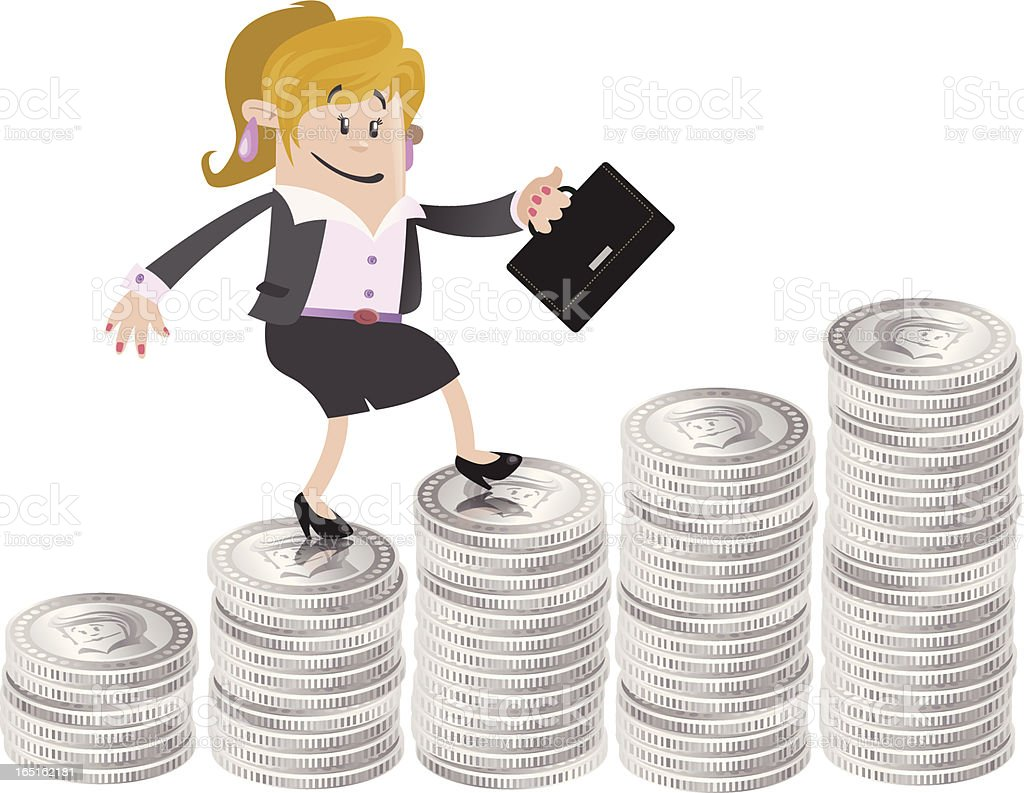 Businesswoman Buddy climbs up the money hill royalty-free stock vector art
