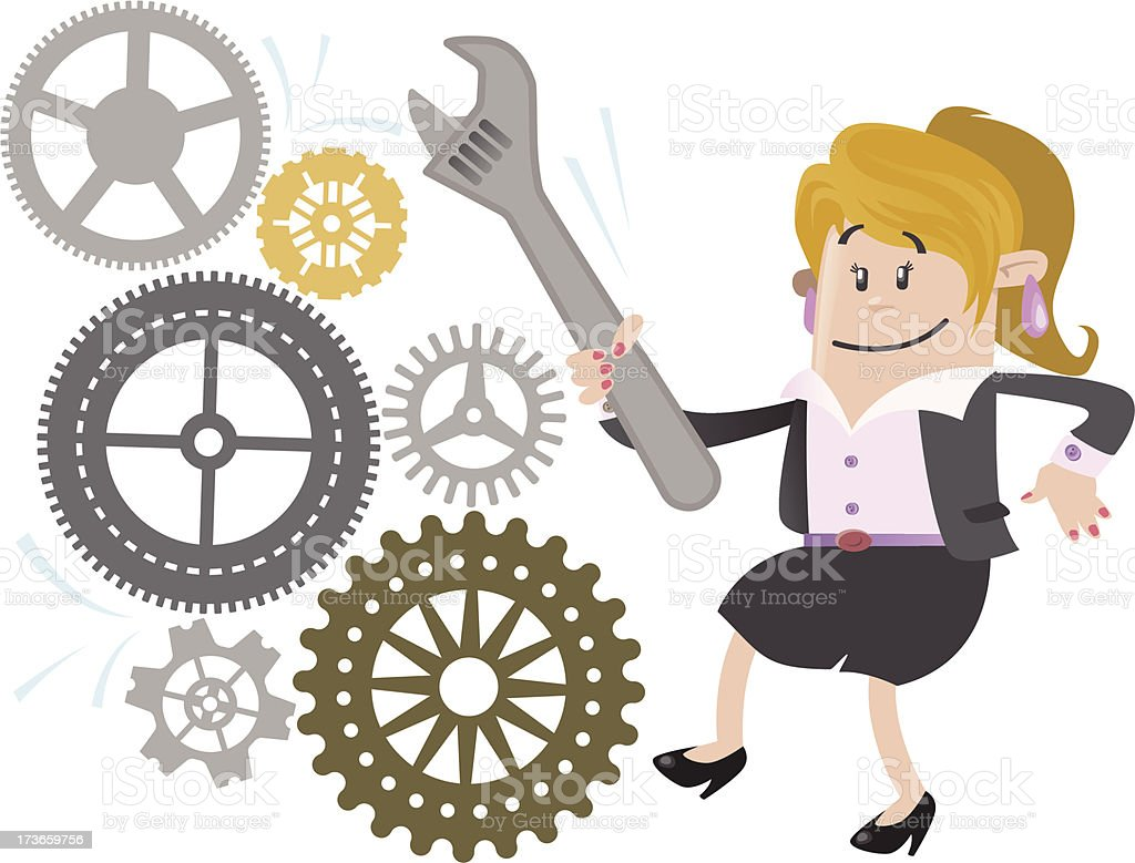 Businesswoman Buddy fixes the Machine royalty-free stock vector art