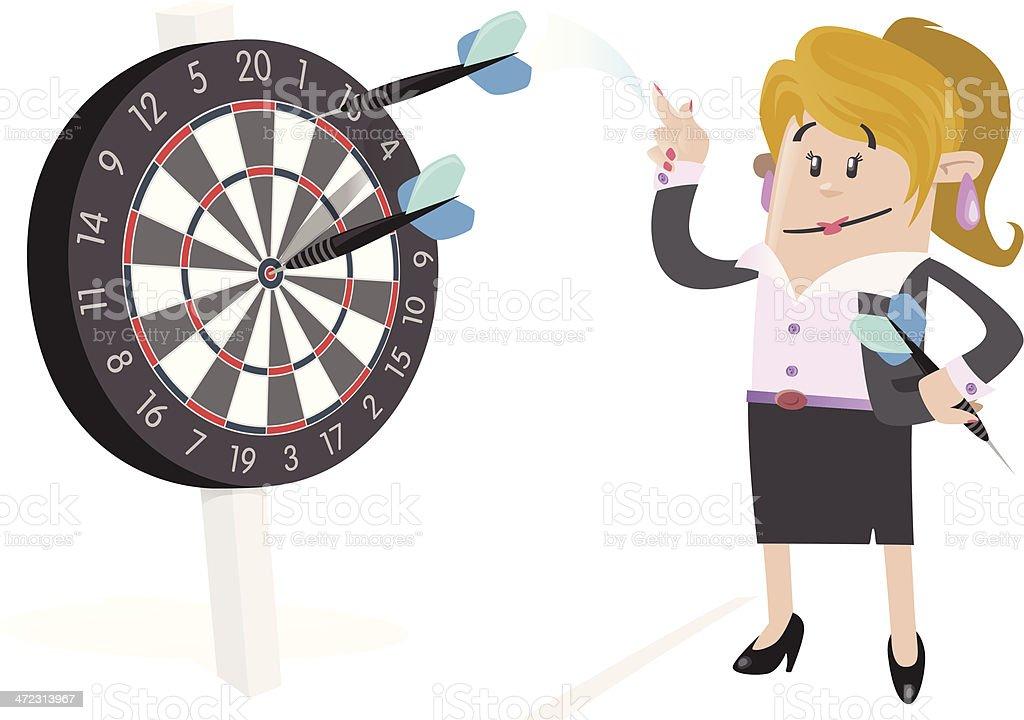 Businesswoman Buddy Hits a Bullseye. royalty-free stock vector art