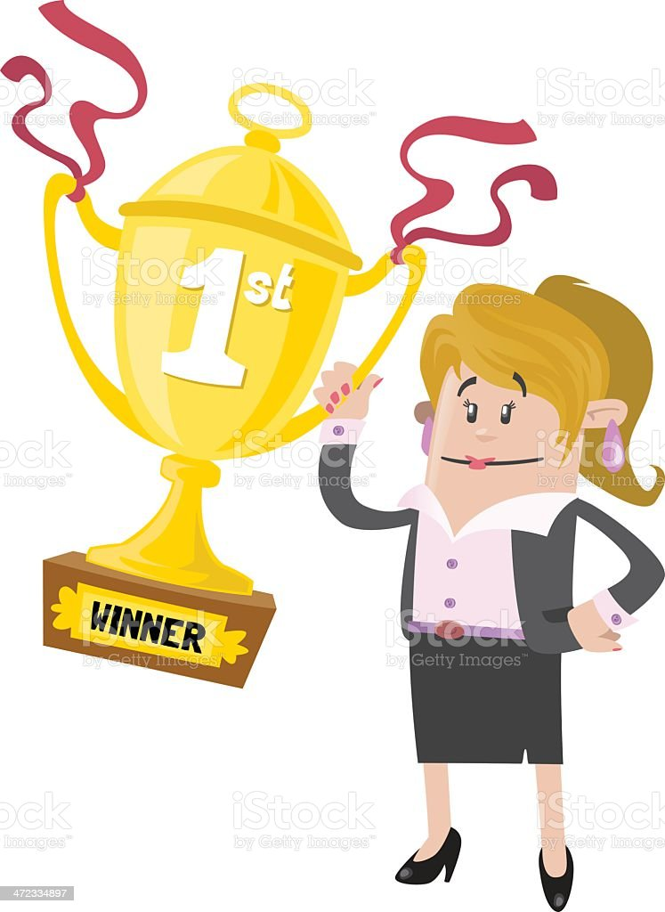 Businesswoman Buddy wins a First Prize trophy royalty-free stock vector art
