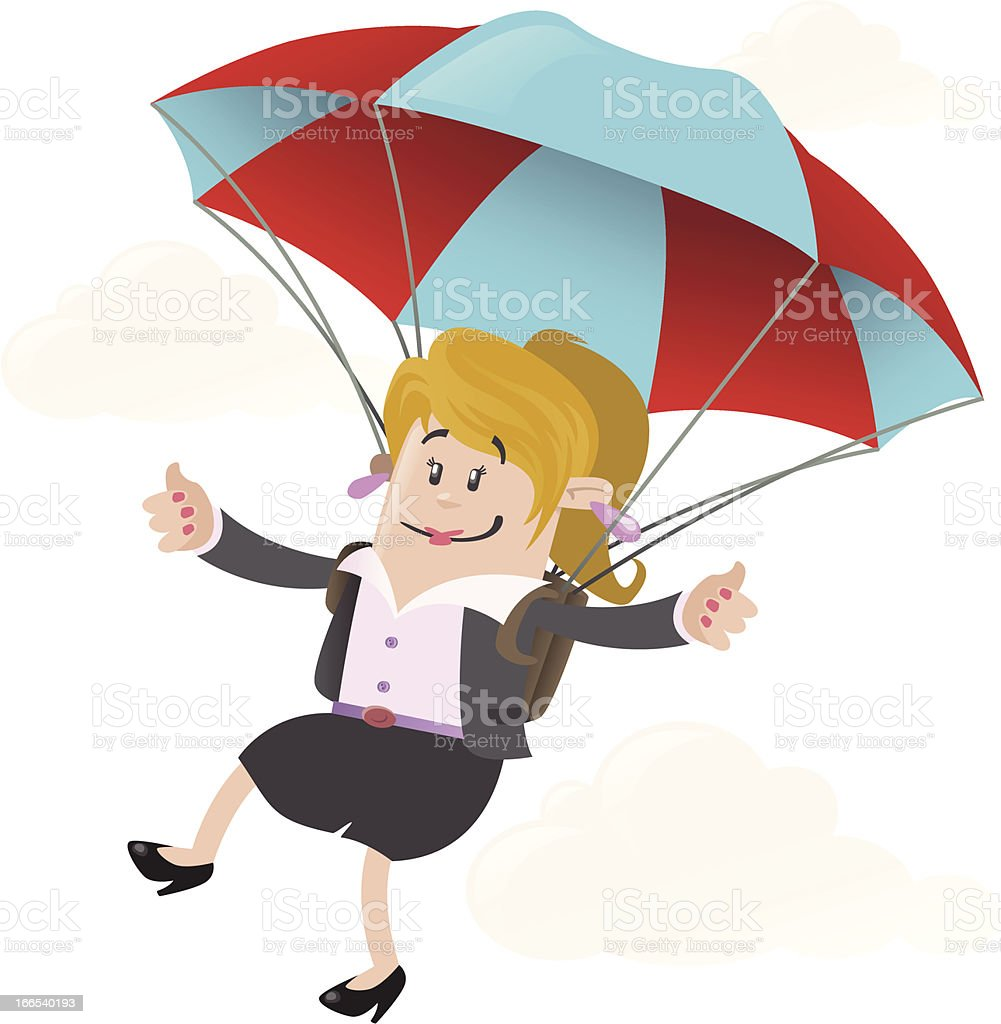 Businesswoman Buddy with Parachute royalty-free stock vector art