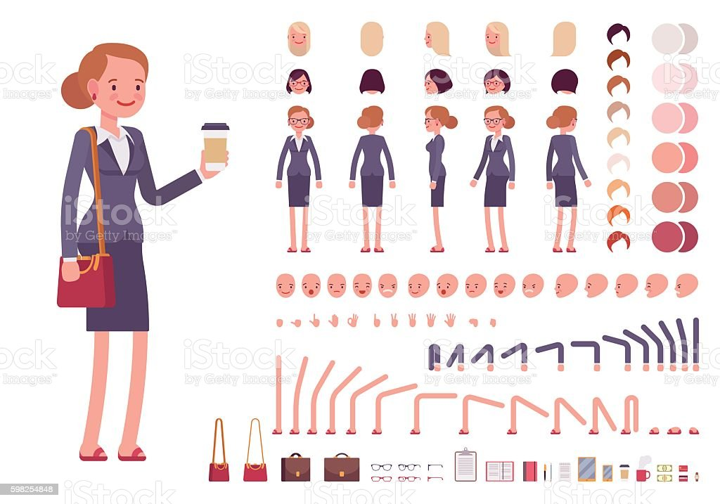 Businesswoman character creation set vector art illustration