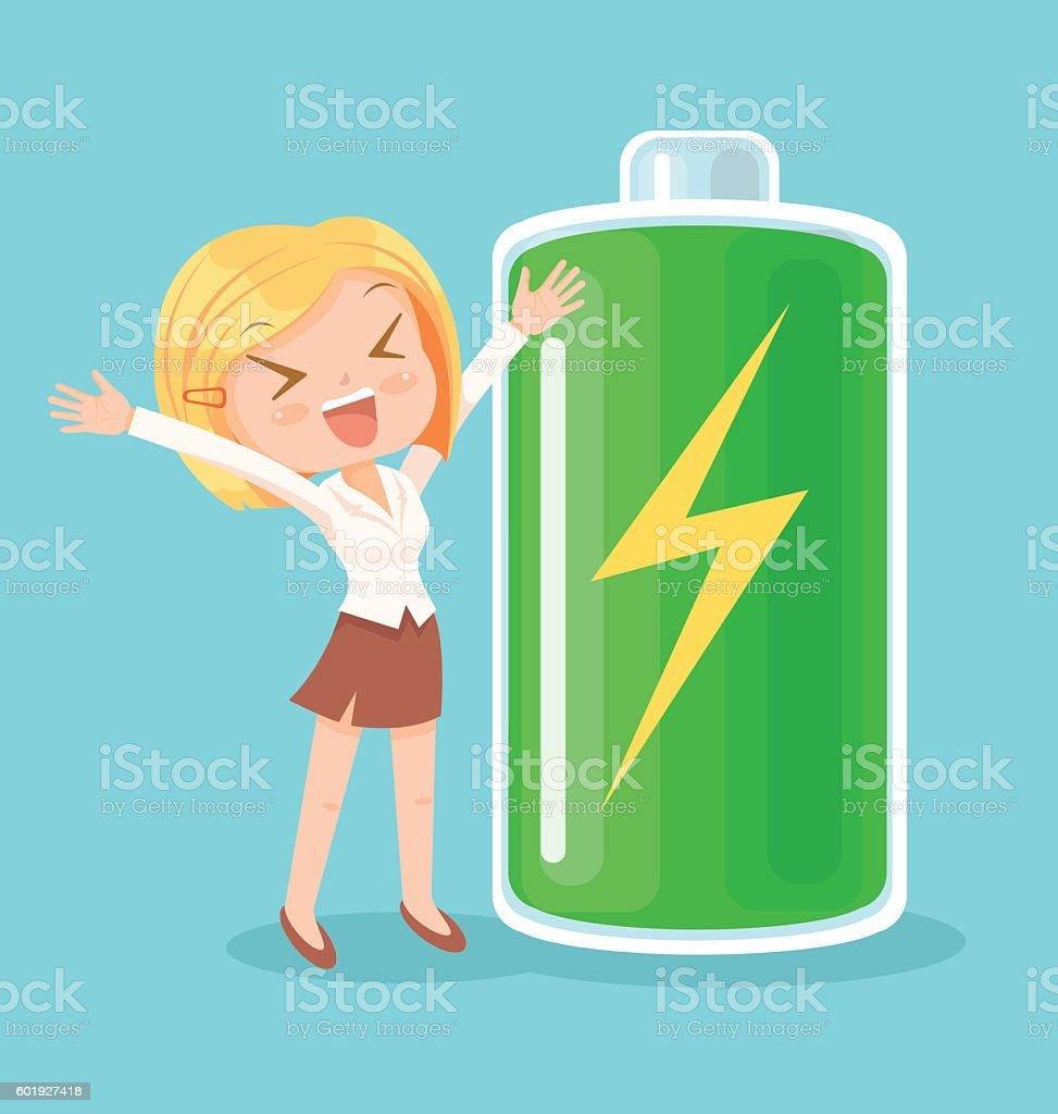 Businesswoman character full of energy. Vector flat cartoon illustration vector art illustration