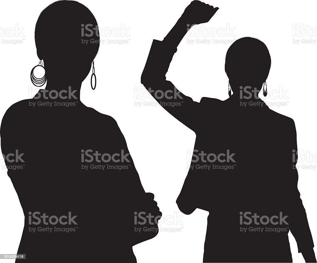 Businesswoman cheering and standing vector art illustration