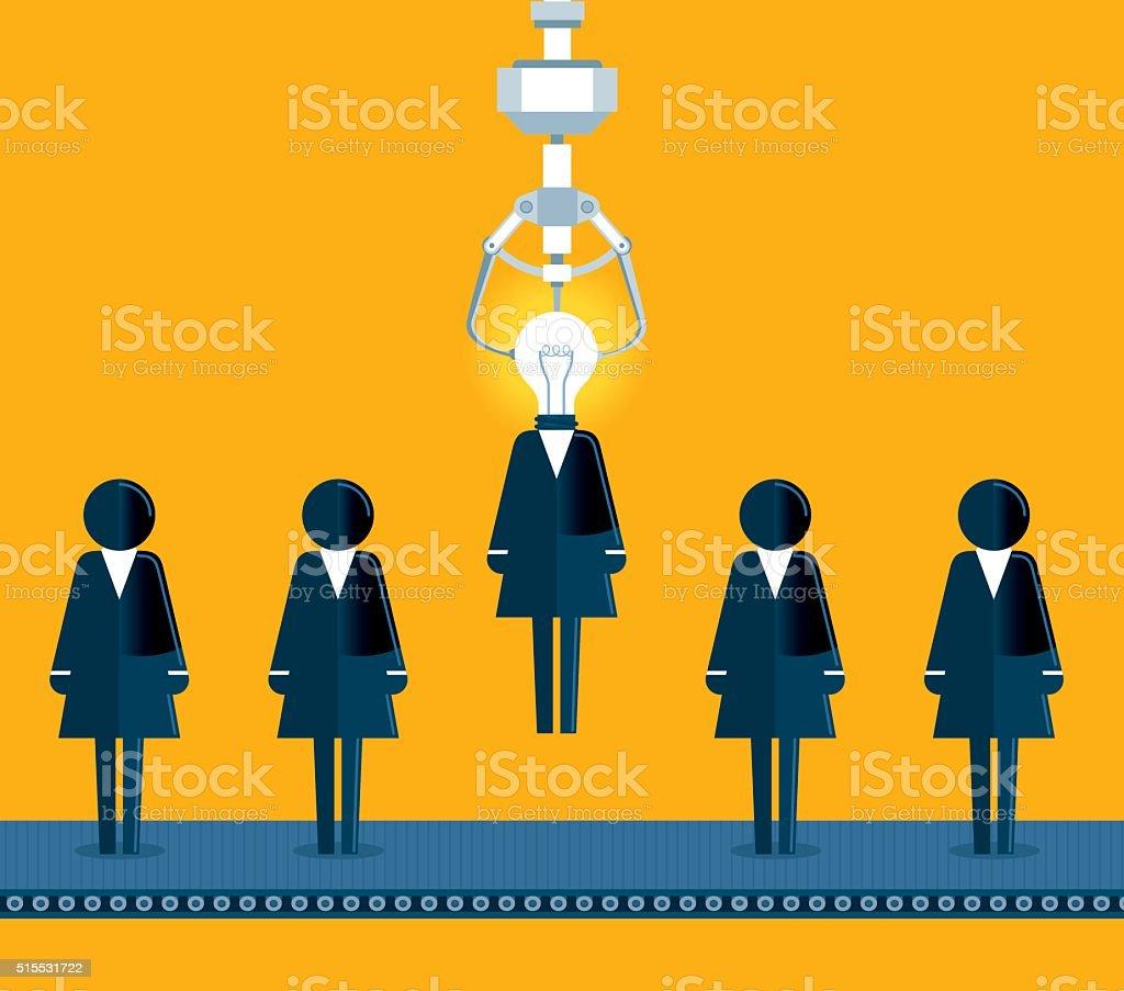 Businesswoman Chosen by a Claw Crane Arcade Game vector art illustration