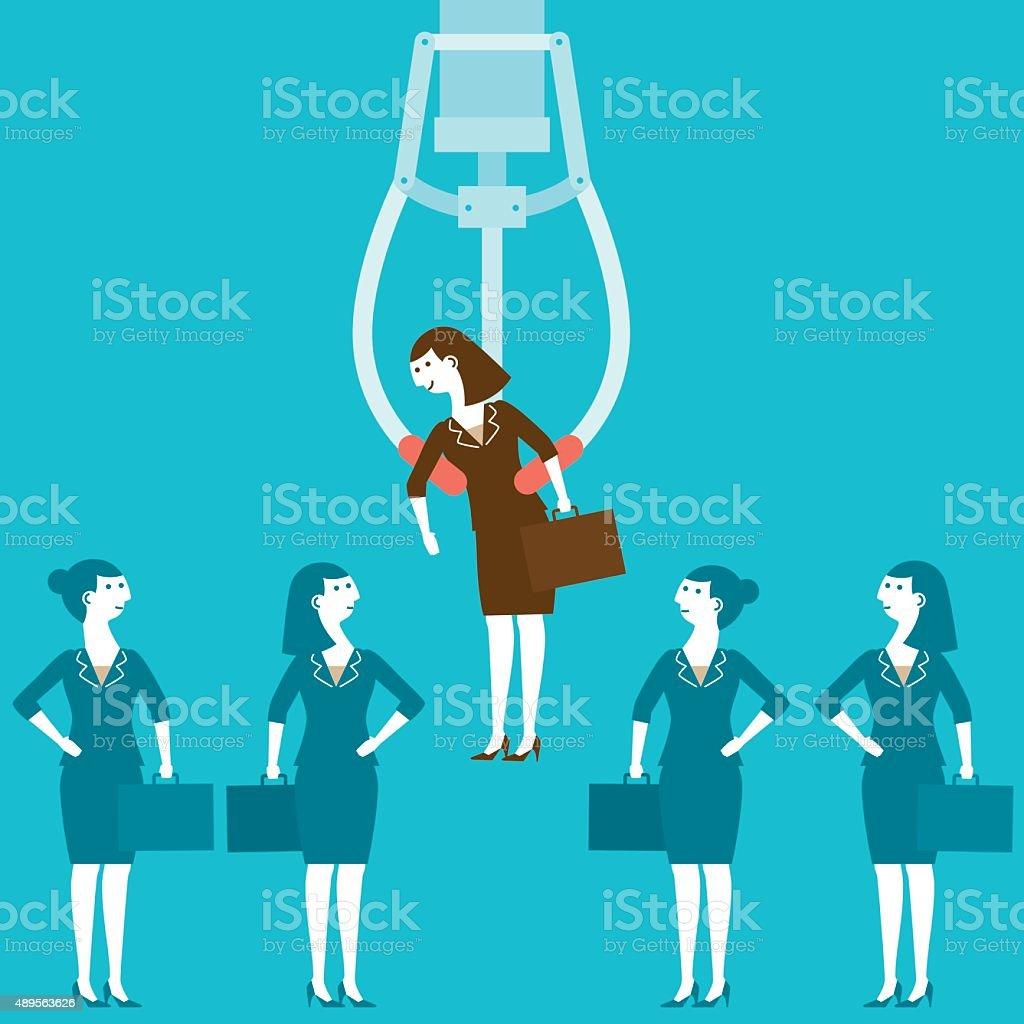 Businesswoman Chosen in Claw Crane Machine | New Biz Concept vector art illustration