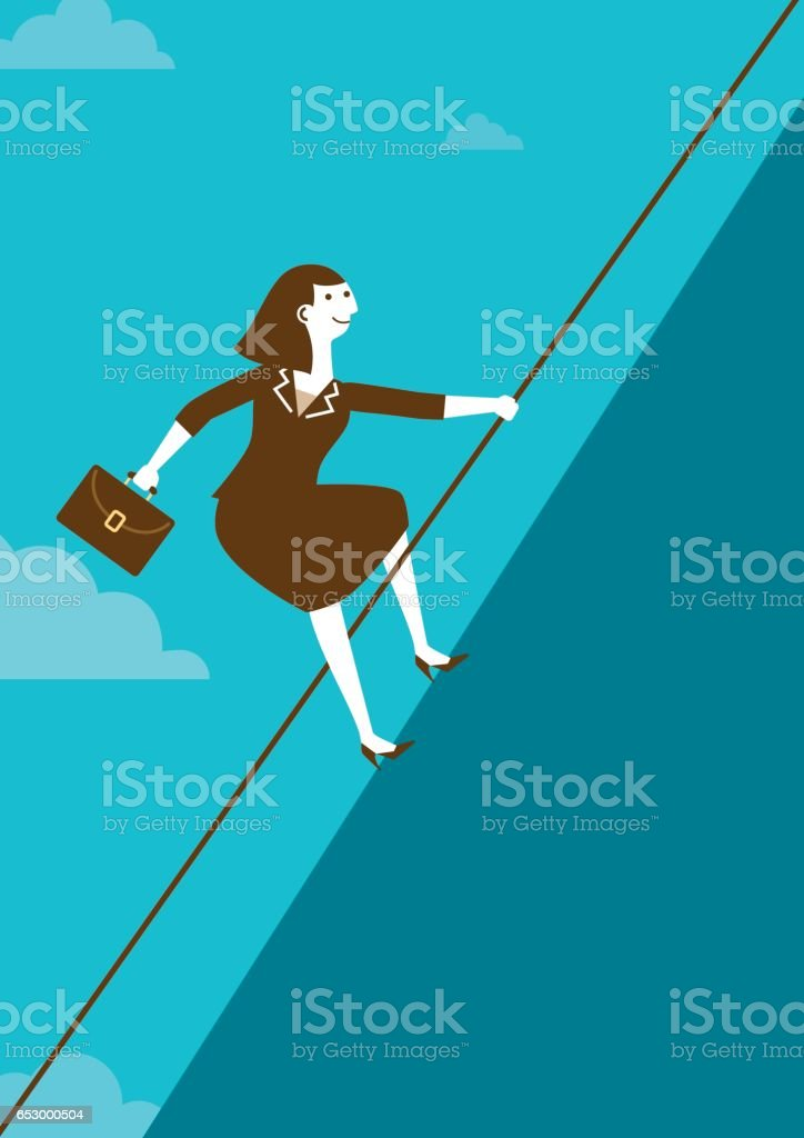 Businesswoman Climbing Mountain with Rope | New Business Concept vector art illustration