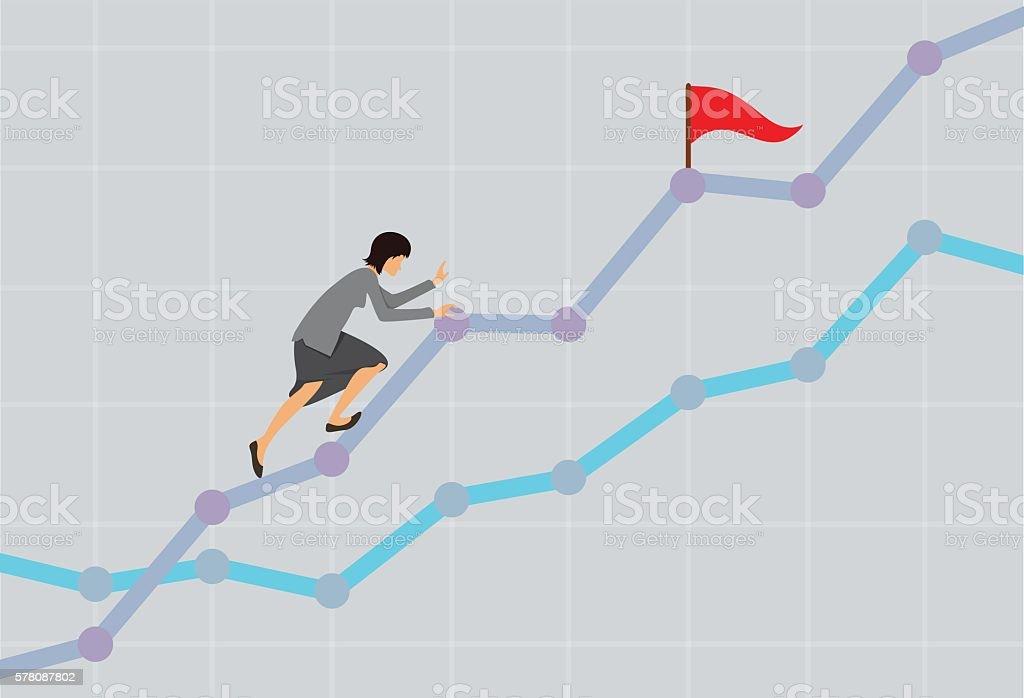 Businesswoman climbing up the rising financial chart. Business development concept vector art illustration