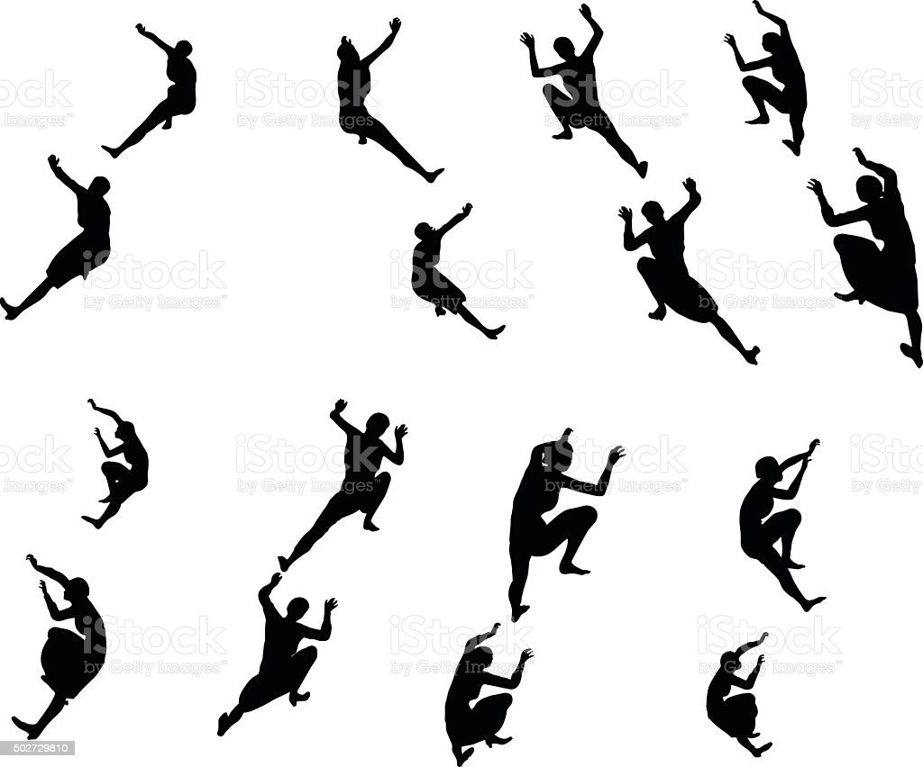businesswoman climbing vector art illustration
