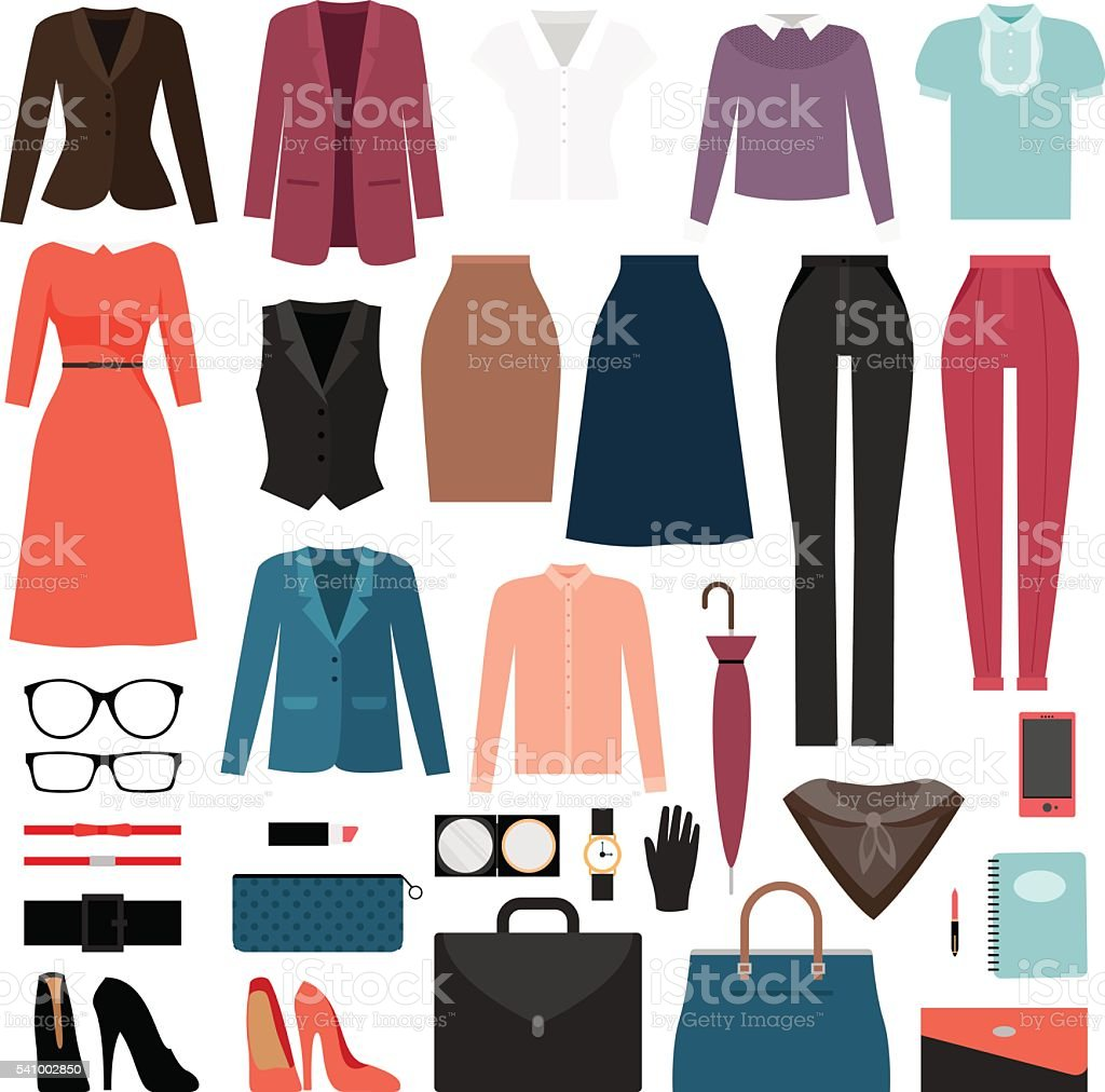 Businesswoman clothes and accessories vector art illustration