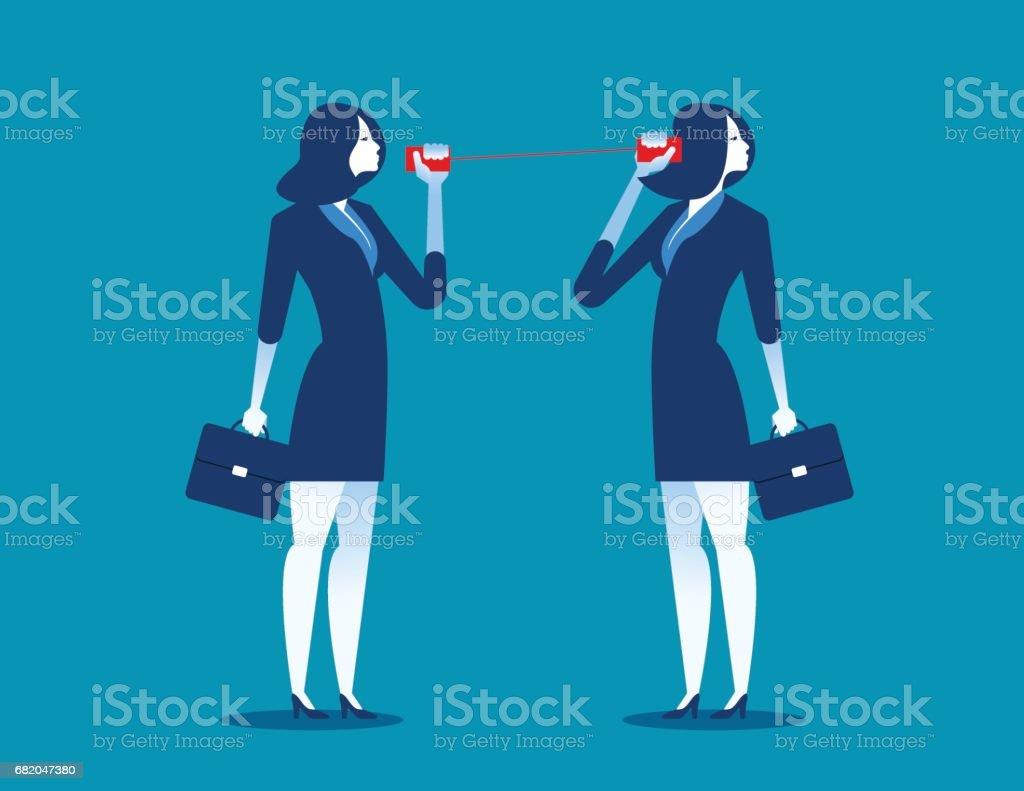 Businesswoman communicating through tin cans. Concept business communication. Vector flat. vector art illustration