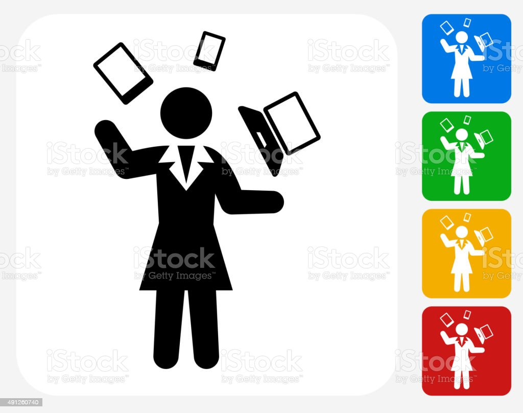 Businesswoman Communication Technology Icon Flat Graphic Design vector art illustration