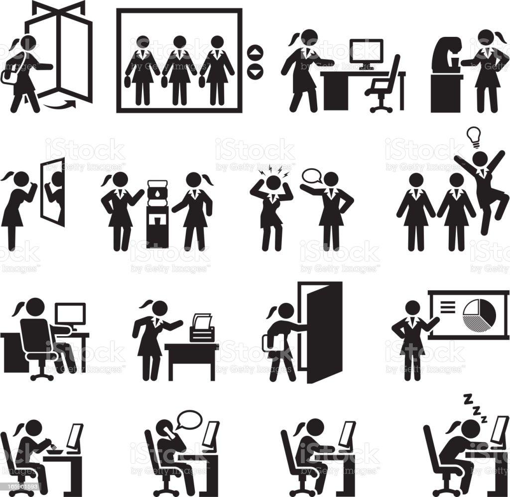 Businesswoman Daily Office Job black and white set vector art illustration