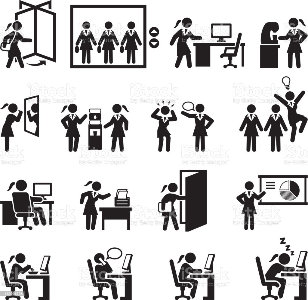 Businesswoman Daily Office Job black and white vector icon set vector art illustration