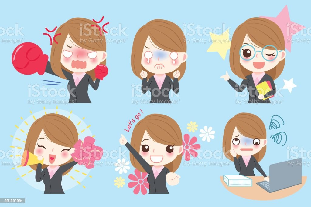 businesswoman do different emotion vector art illustration
