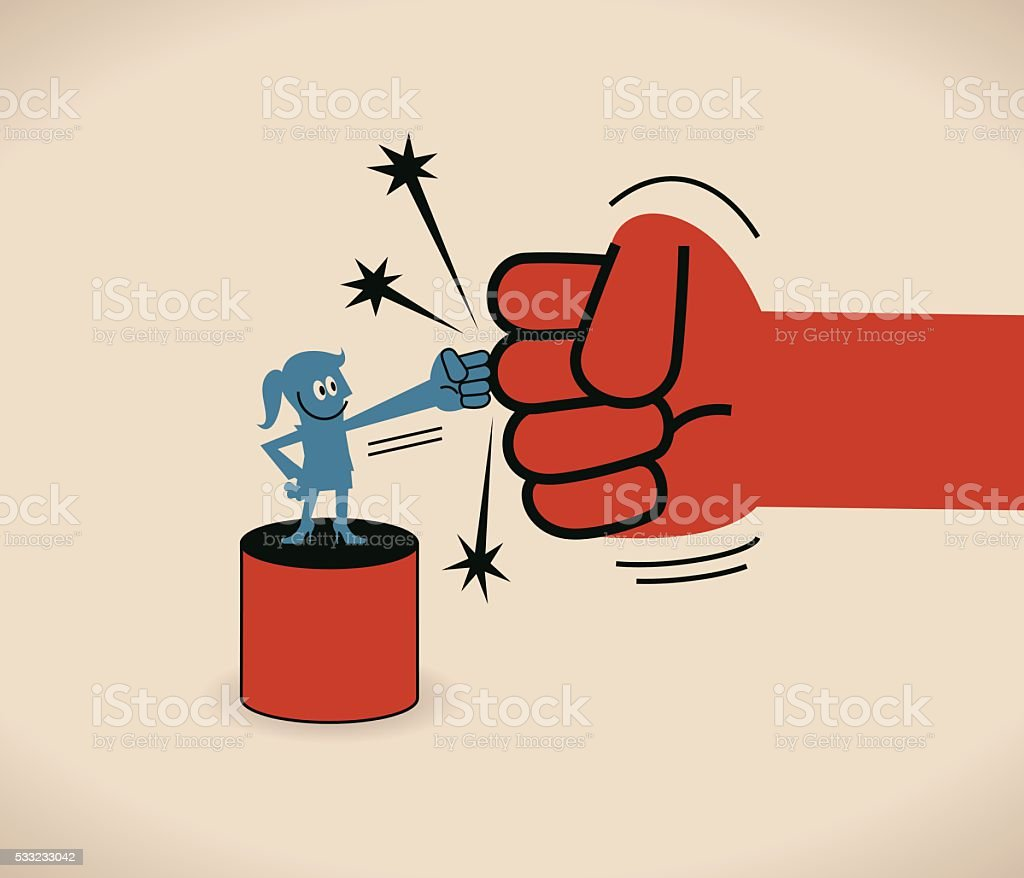 Businesswoman does a fist bump with a big red fist vector art illustration
