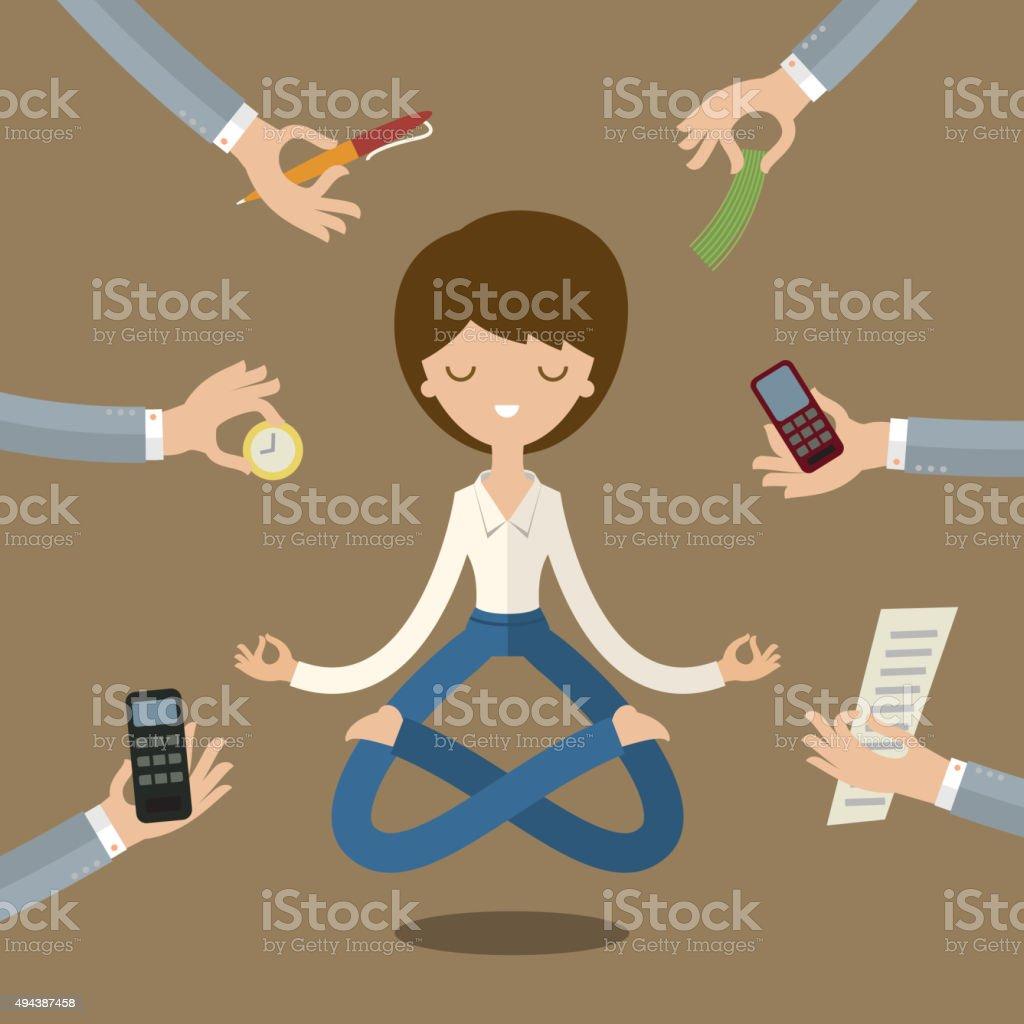 Businesswoman doing Yoga vector art illustration