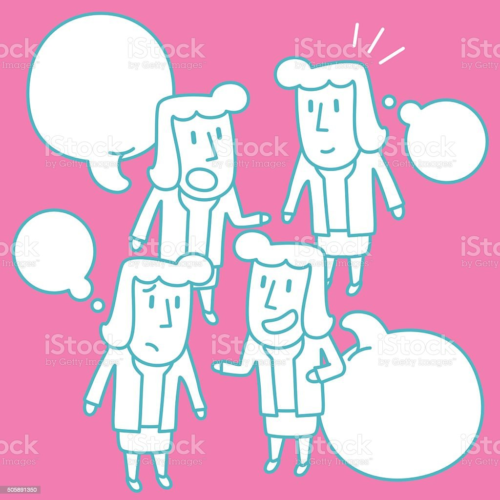 Businesswoman (Teacher, Mother) Doodle Emotion, Talking, Smiling, Angry, Sad, Isolate vector art illustration