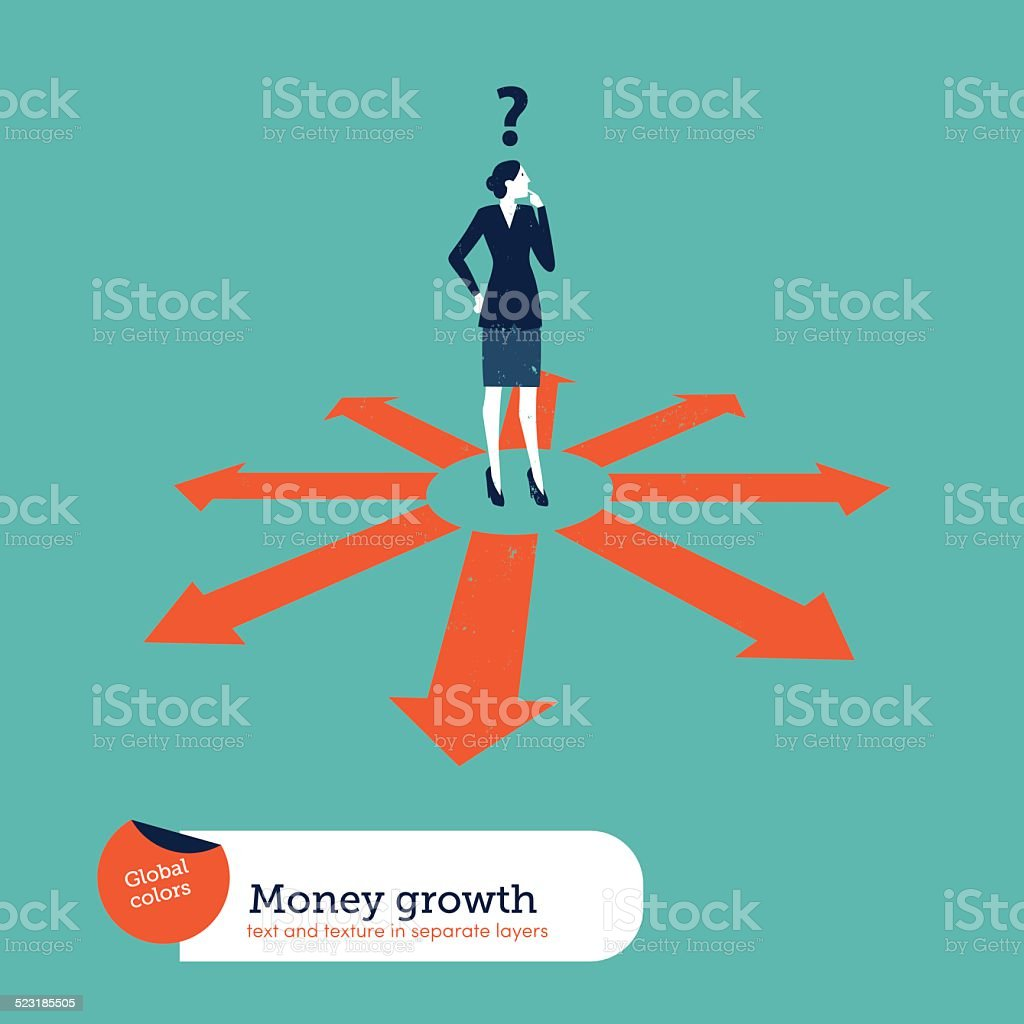 Businesswoman doubting which direction is the best vector art illustration