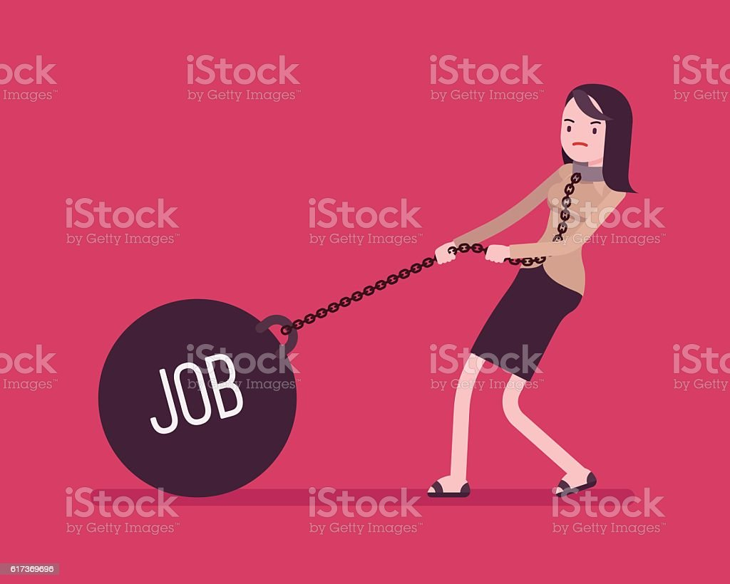 Businesswoman dragging a weight Job on chain vector art illustration