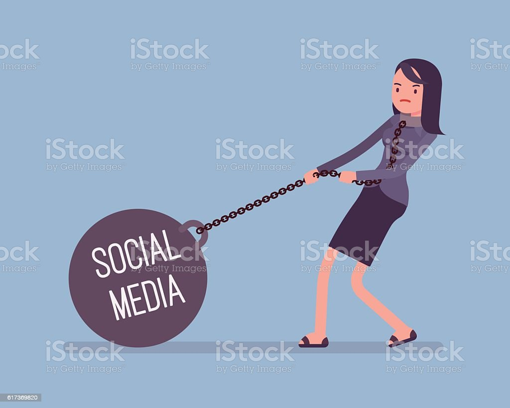 Businesswoman dragging a weight Social Media on chain vector art illustration