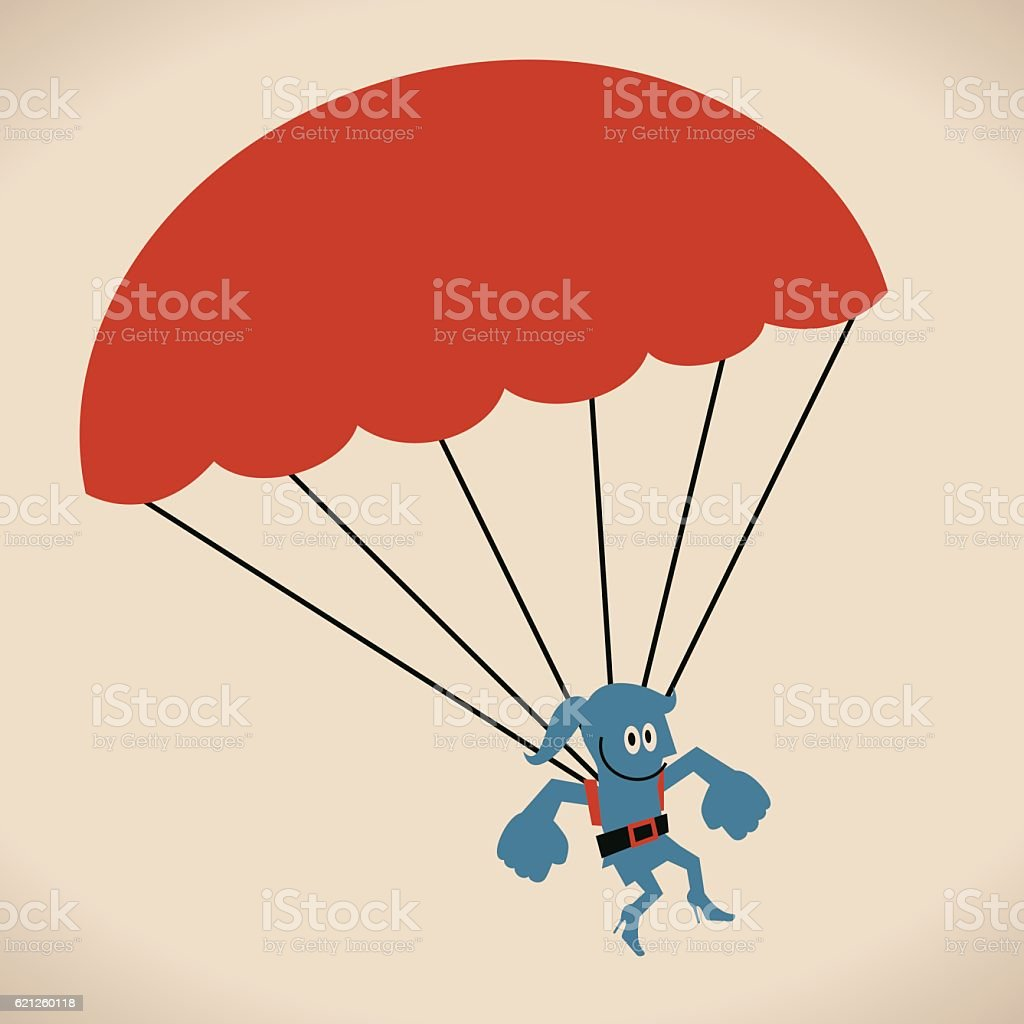 Businesswoman dropping straight down in a parachute vector art illustration
