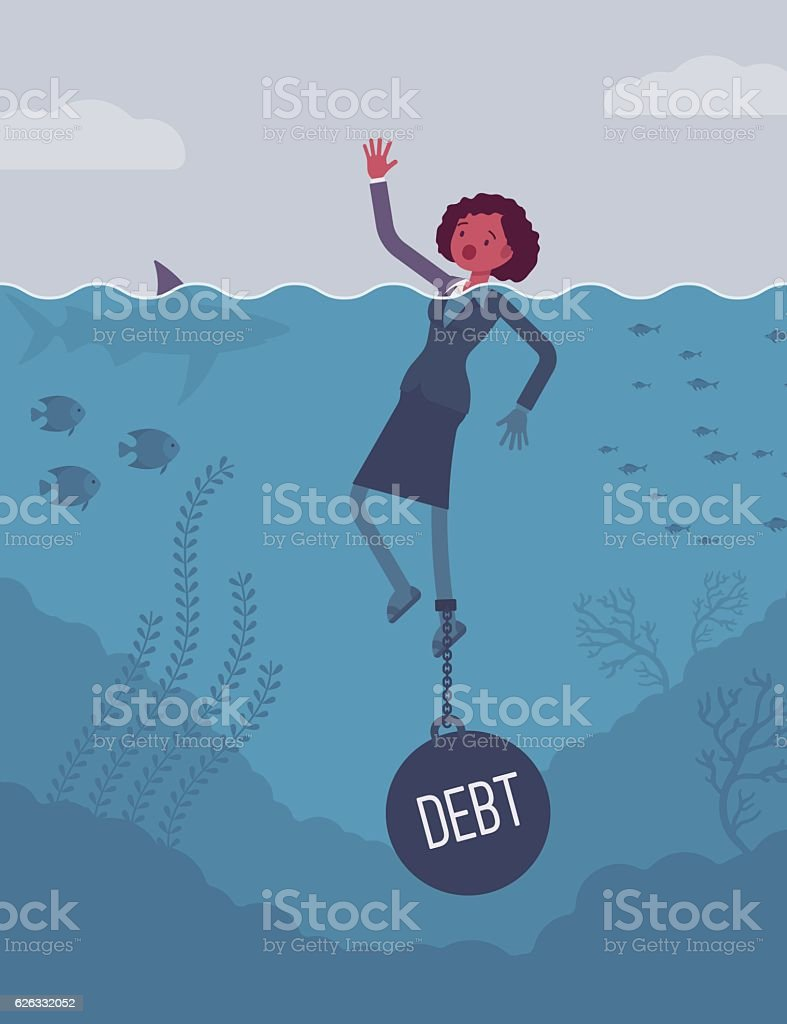 Businesswoman drowning chained with a weight Debt vector art illustration