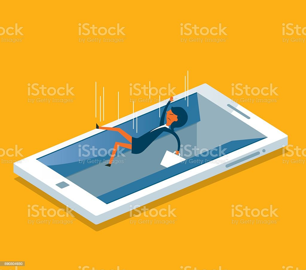 Businesswoman drowning in a digital tablet vector art illustration