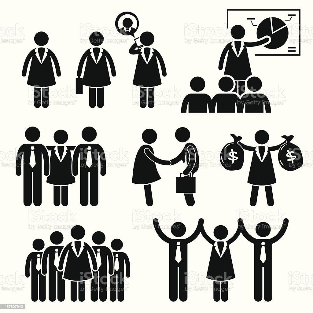 Businesswoman Female CEO Cliparts vector art illustration