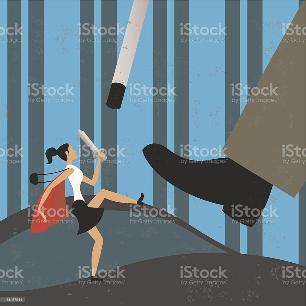 Businesswoman fighting against a giant vector art illustration