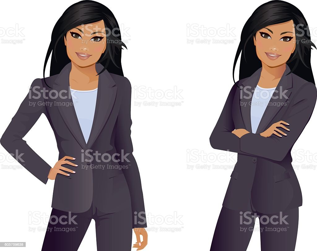 Businesswoman front facing and arms folded vector art illustration