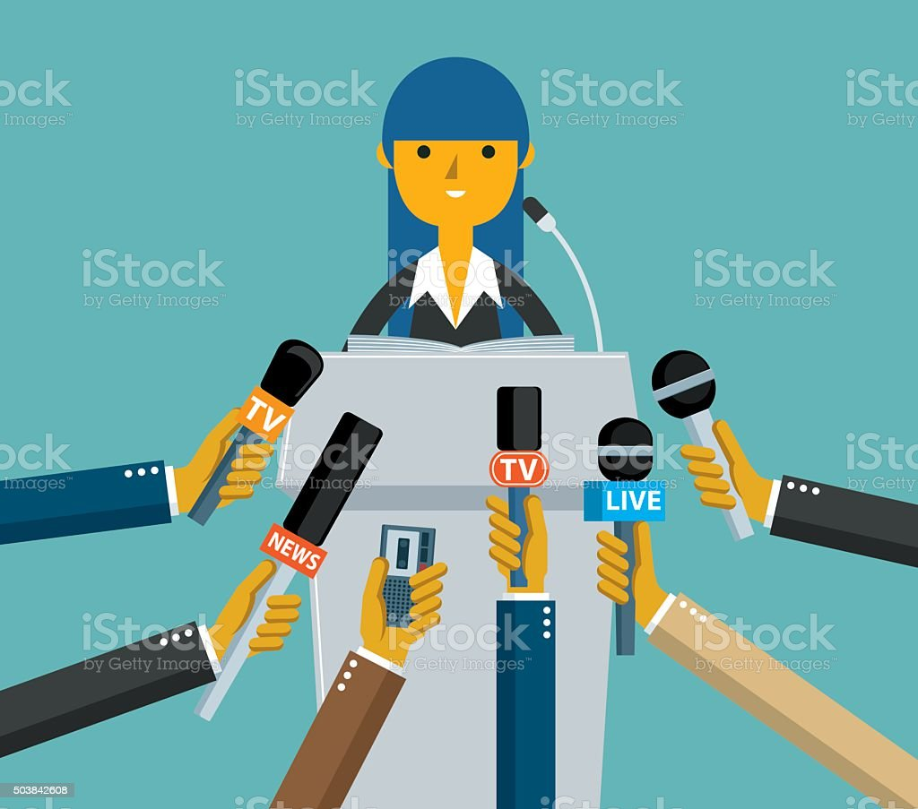 Businesswoman giving an interview vector art illustration