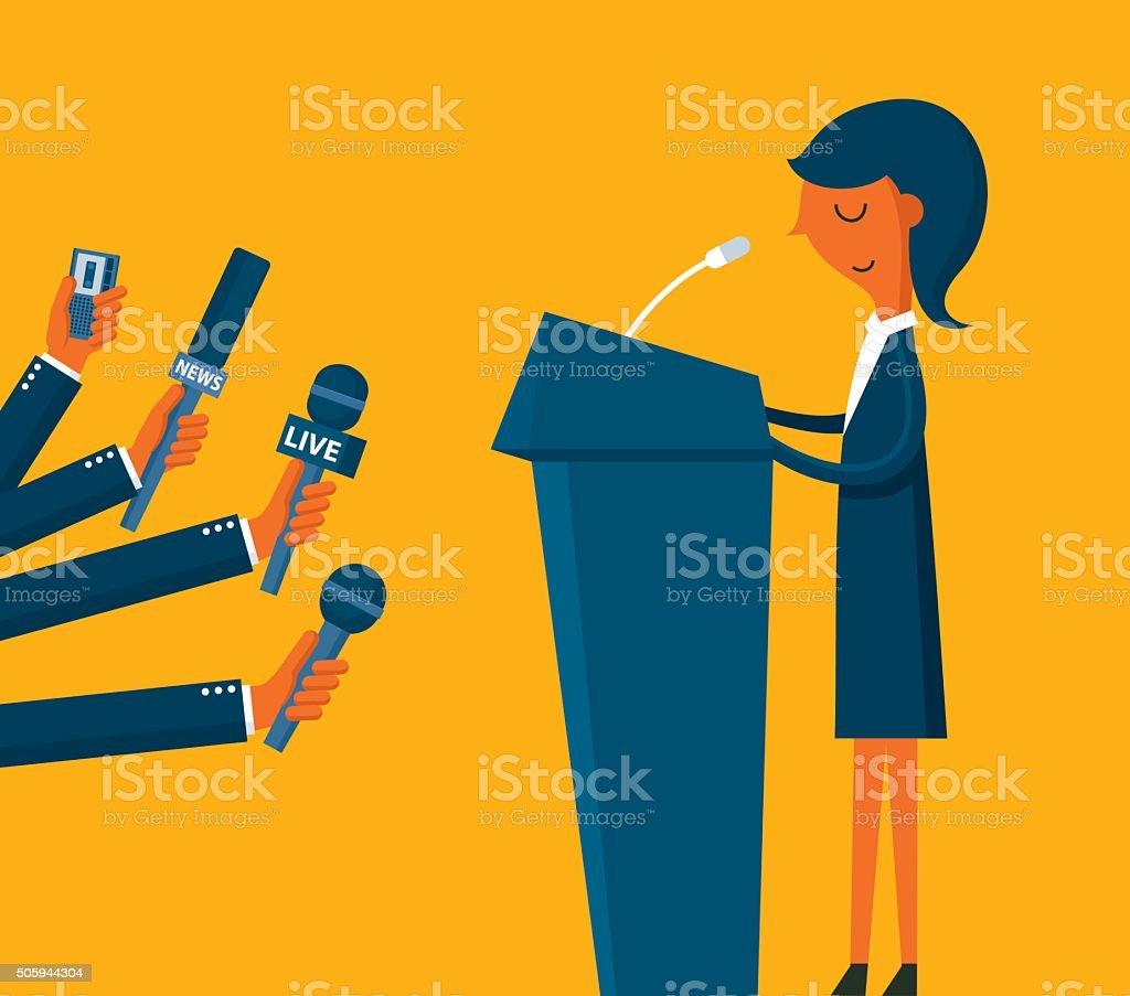 Businesswoman giving an interview vector art illustration