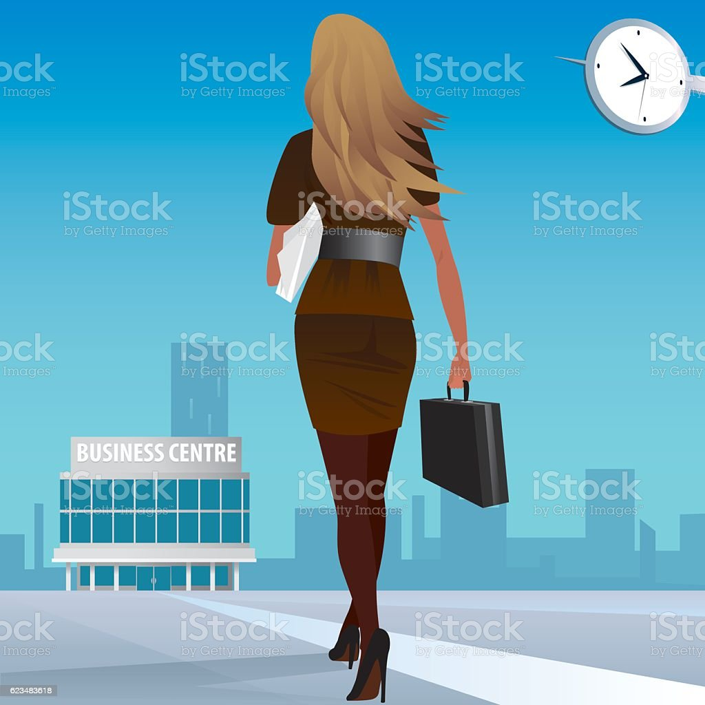 Businesswoman go to work in business center vector art illustration