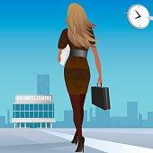 Businesswoman go to work in business center
