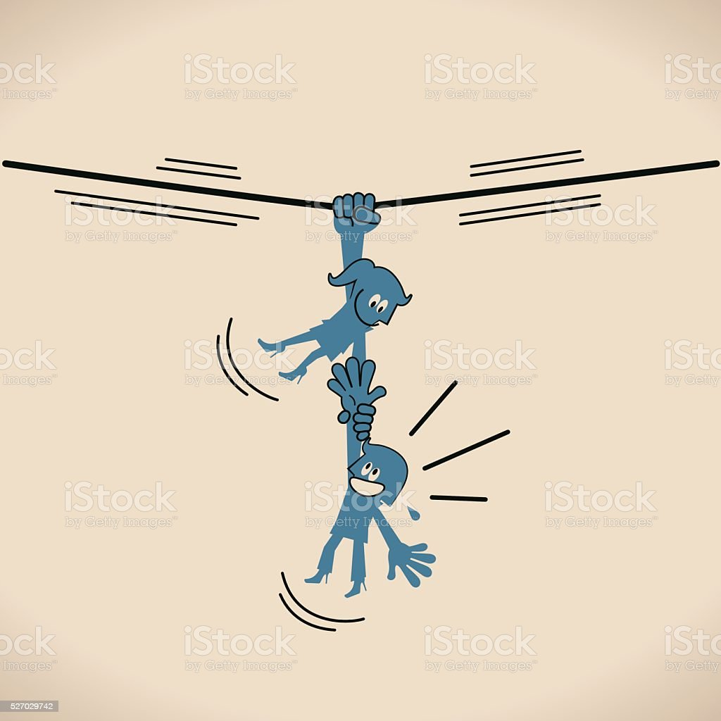 Businesswoman hanging on (holding) tightrope to rescue a falling woman vector art illustration