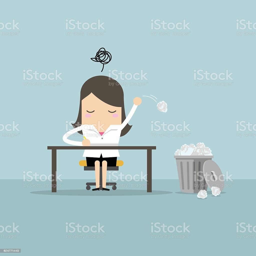 Businesswoman have no idea and throwing crumpled paper to trash. vector art illustration