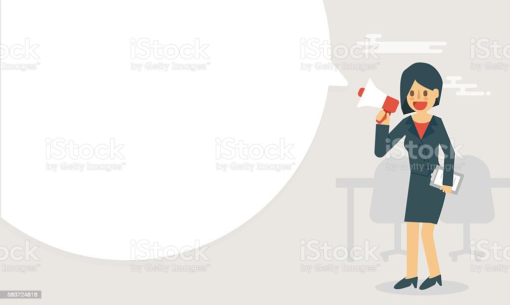 Businesswoman hold megaphone announce with big bubble speech vector art illustration