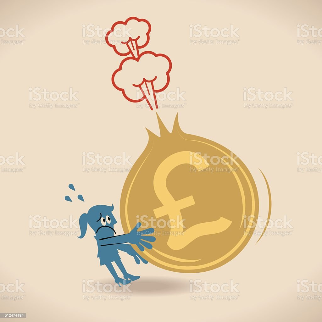Businesswoman holding a deflating (exploding) Pound Currency sign coin vector art illustration