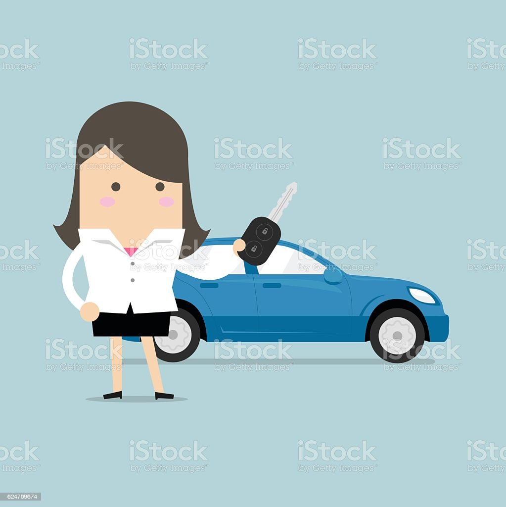 Businesswoman holding a key of a new car. vector art illustration