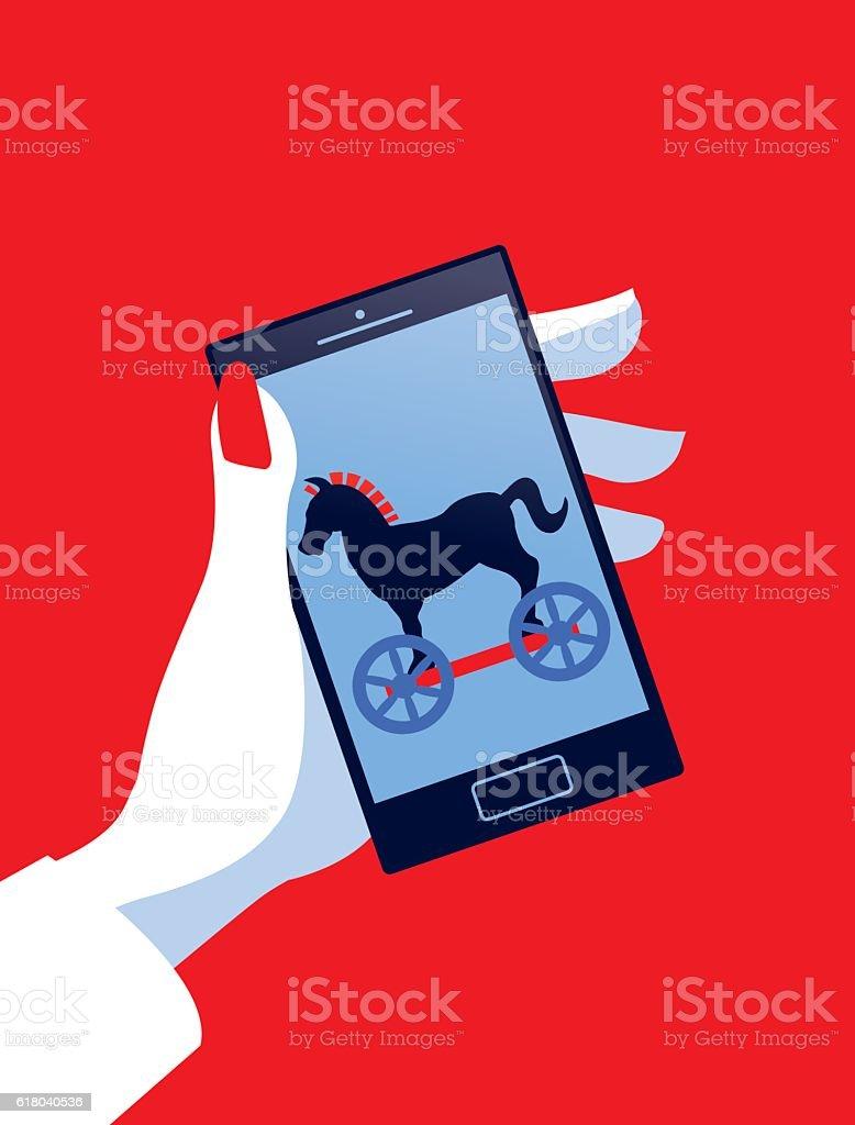 Businesswoman Holding Mobile Phone with Trojan Horse vector art illustration