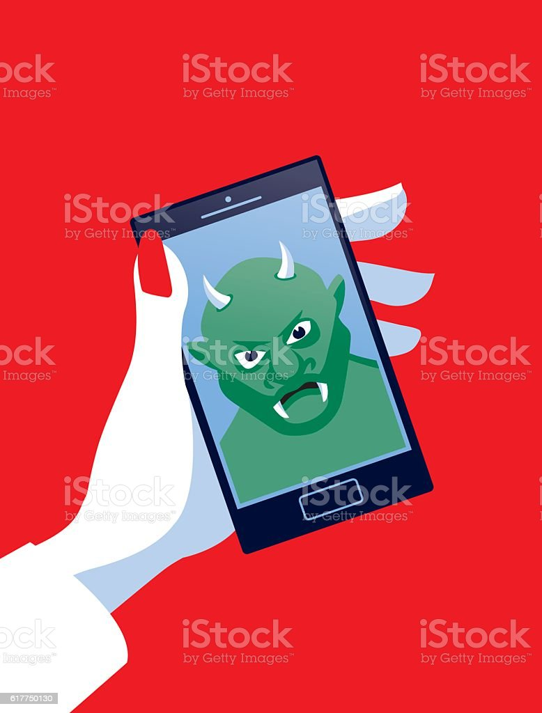 Businesswoman Holding Mobile Phone with Troll vector art illustration