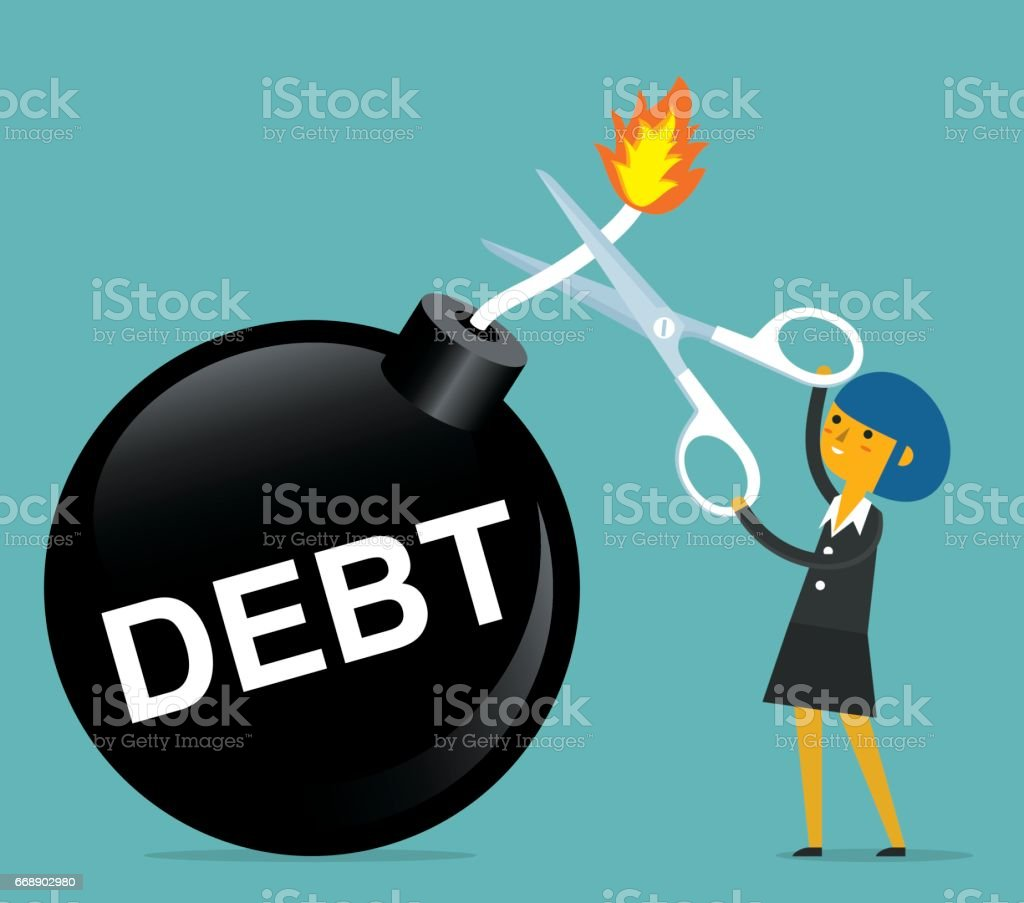 Businesswoman holding scissors to cut debt bomb vector art illustration