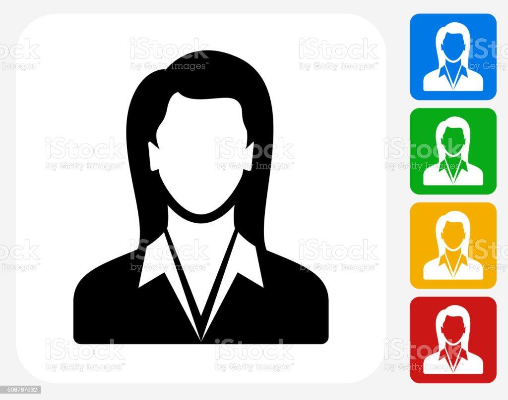 Businesswoman Icon Flat Graphic Design vector art illustration